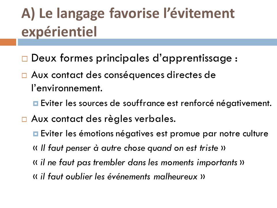 A) Le langage favorise l'évitement expérientiel