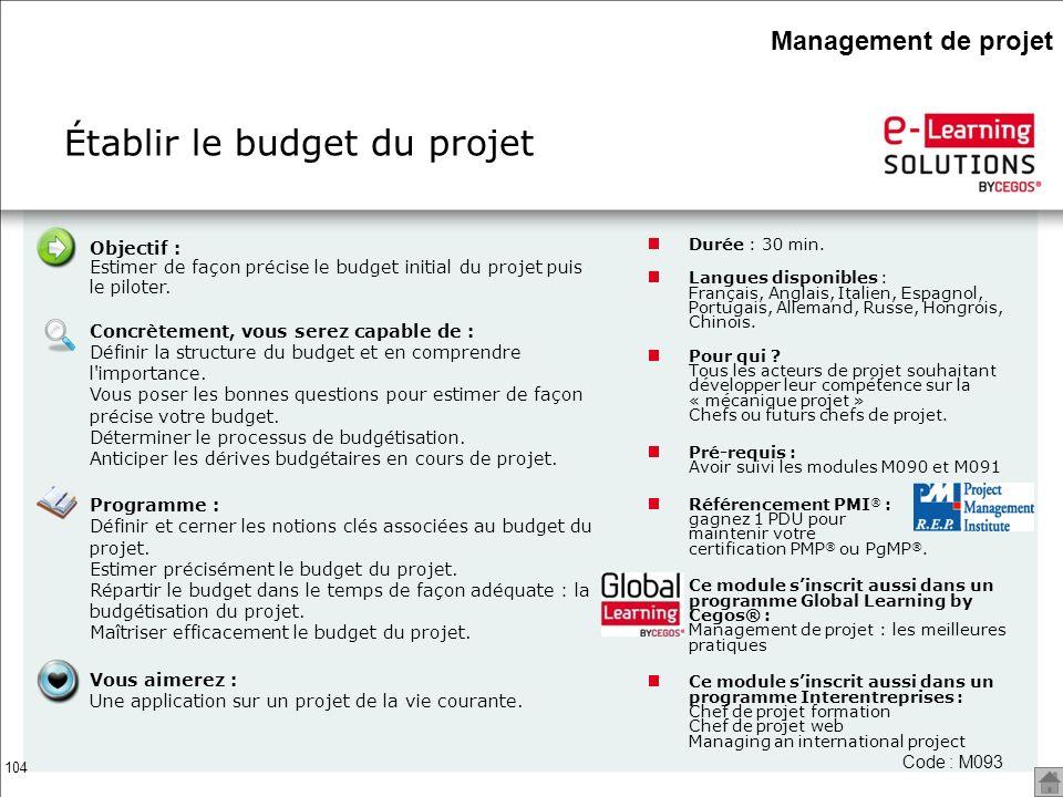 Établir le budget du projet