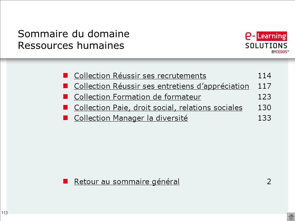 Sommaire du domaine Ressources humaines