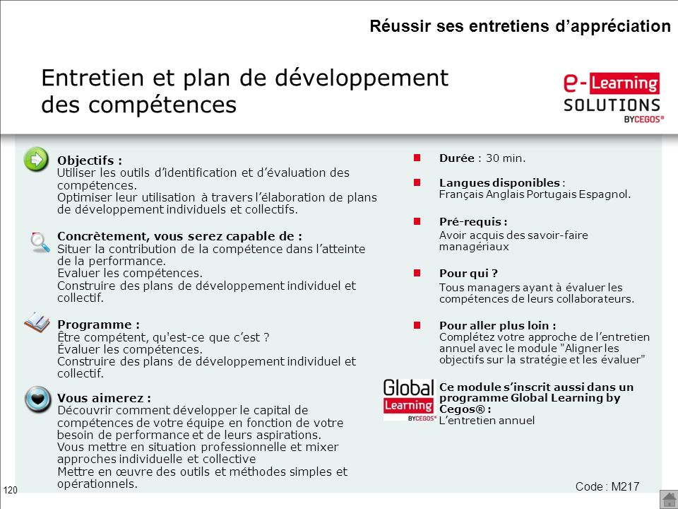 Entretien et plan de développement des compétences