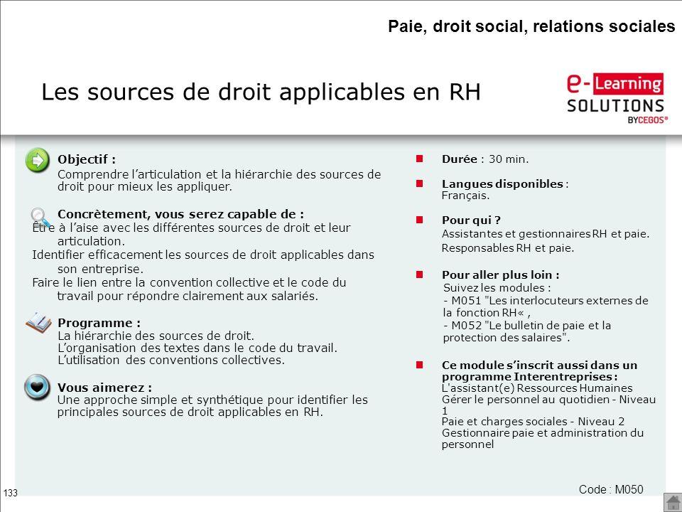 Les sources de droit applicables en RH