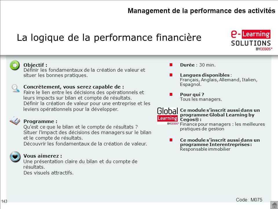 La logique de la performance financière