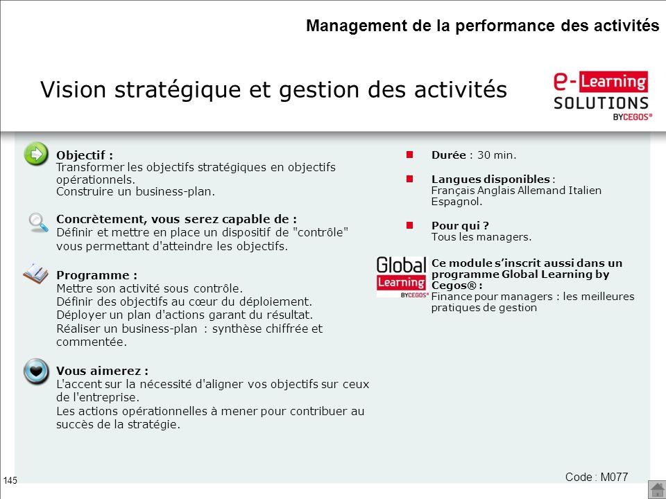 Vision stratégique et gestion des activités