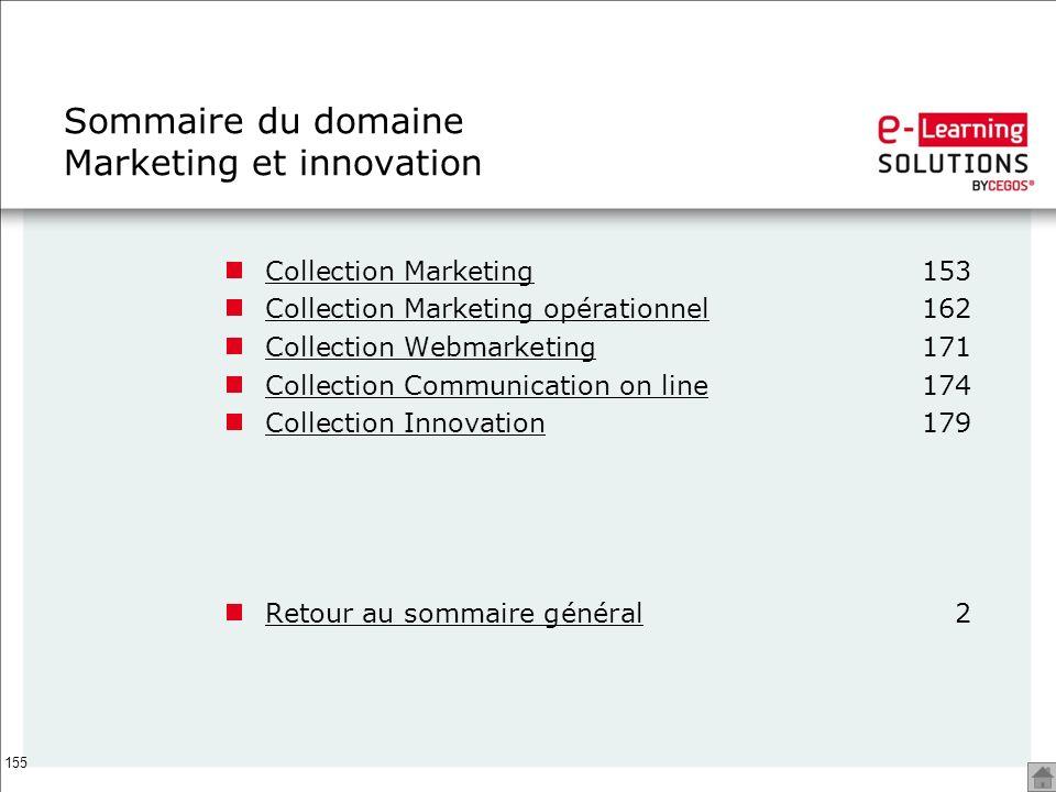 Sommaire du domaine Marketing et innovation