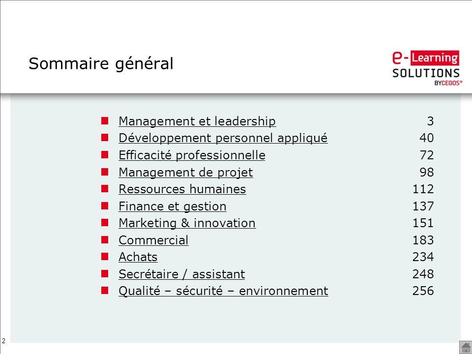 Sommaire général Management et leadership 3