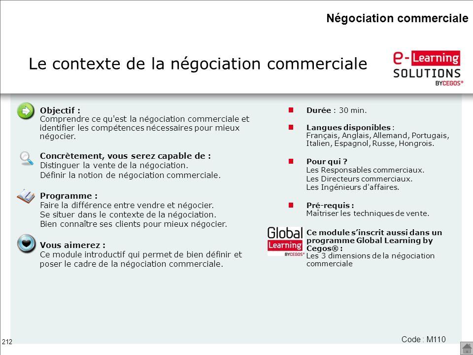 Le contexte de la négociation commerciale