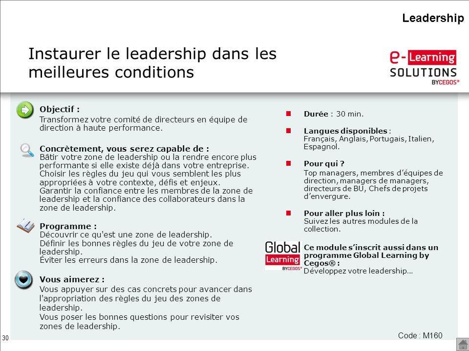 Instaurer le leadership dans les meilleures conditions