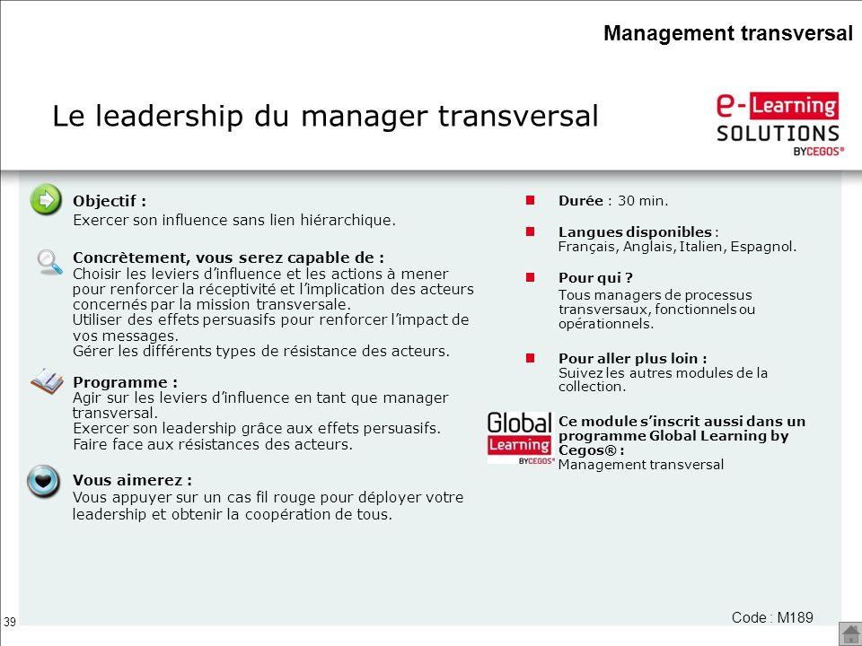 Le leadership du manager transversal