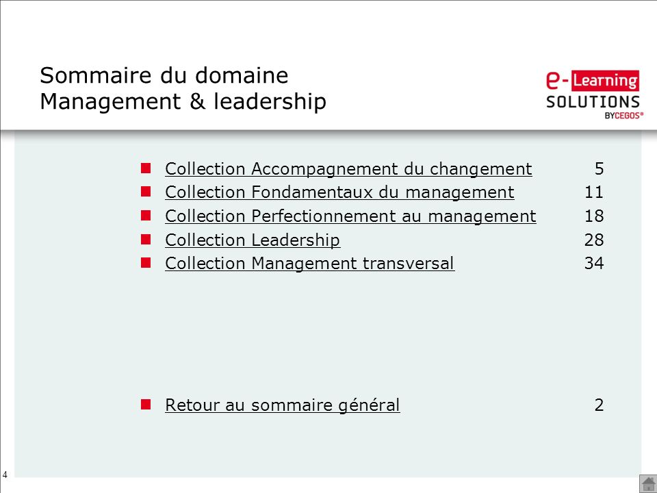 Sommaire du domaine Management & leadership