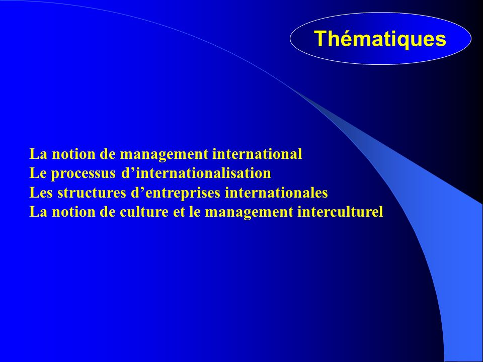 Thématiques La notion de management international