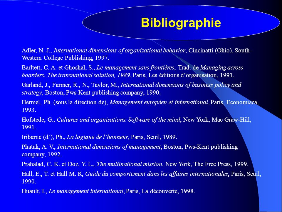 Bibliographie Adler, N. J., International dimensions of organizational behavior, Cincinatti (Ohio), South-Western College Publishing, 1997.