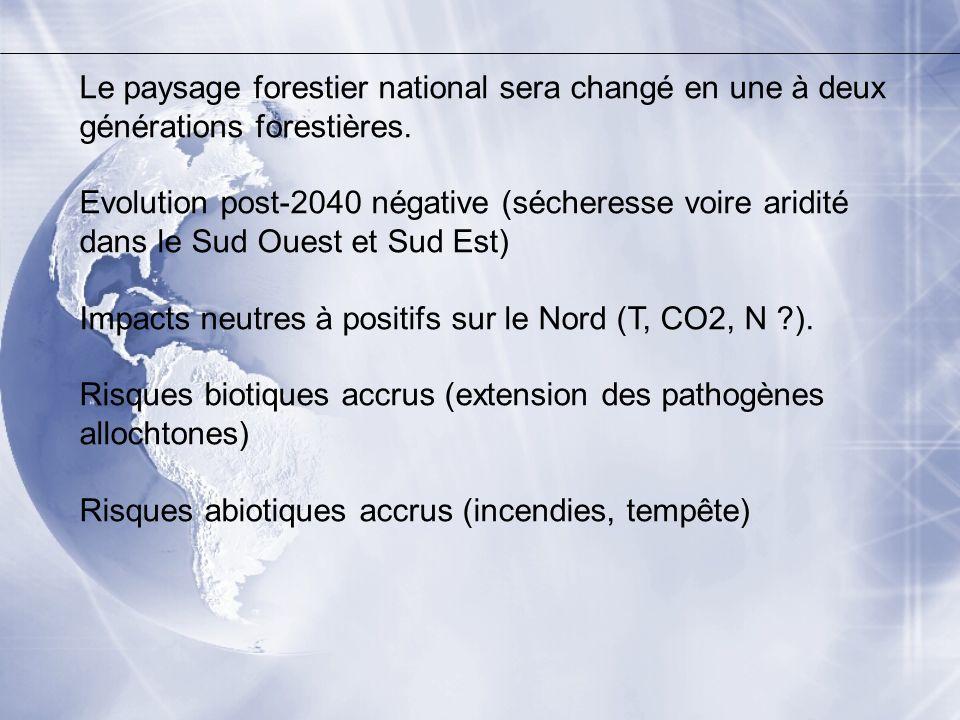 Le paysage forestier national sera changé en une à deux générations forestières.