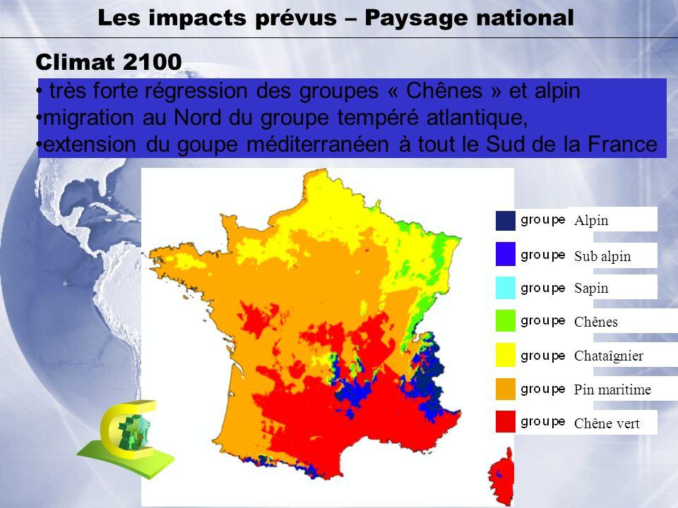 Les impacts prévus – Paysage national