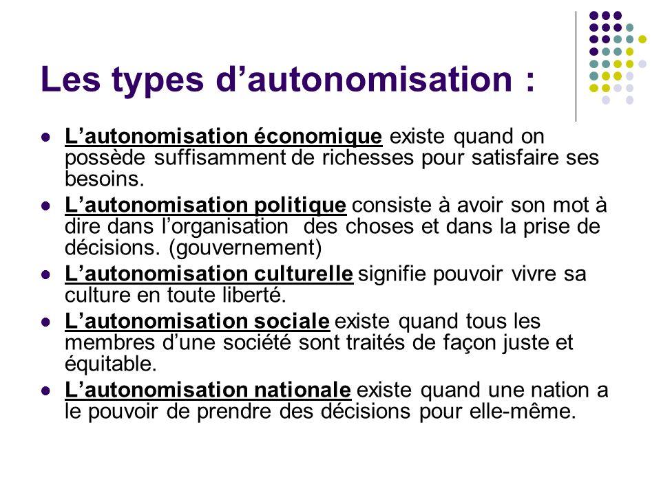 Les types d'autonomisation :