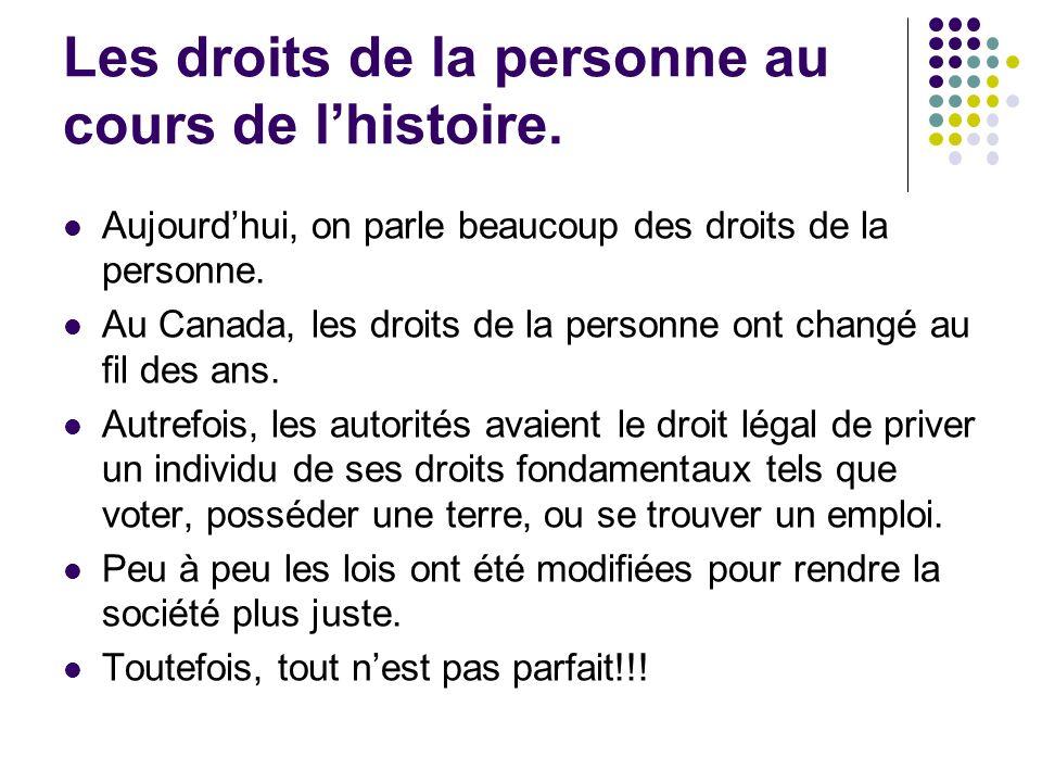 Les droits de la personne au cours de l'histoire.