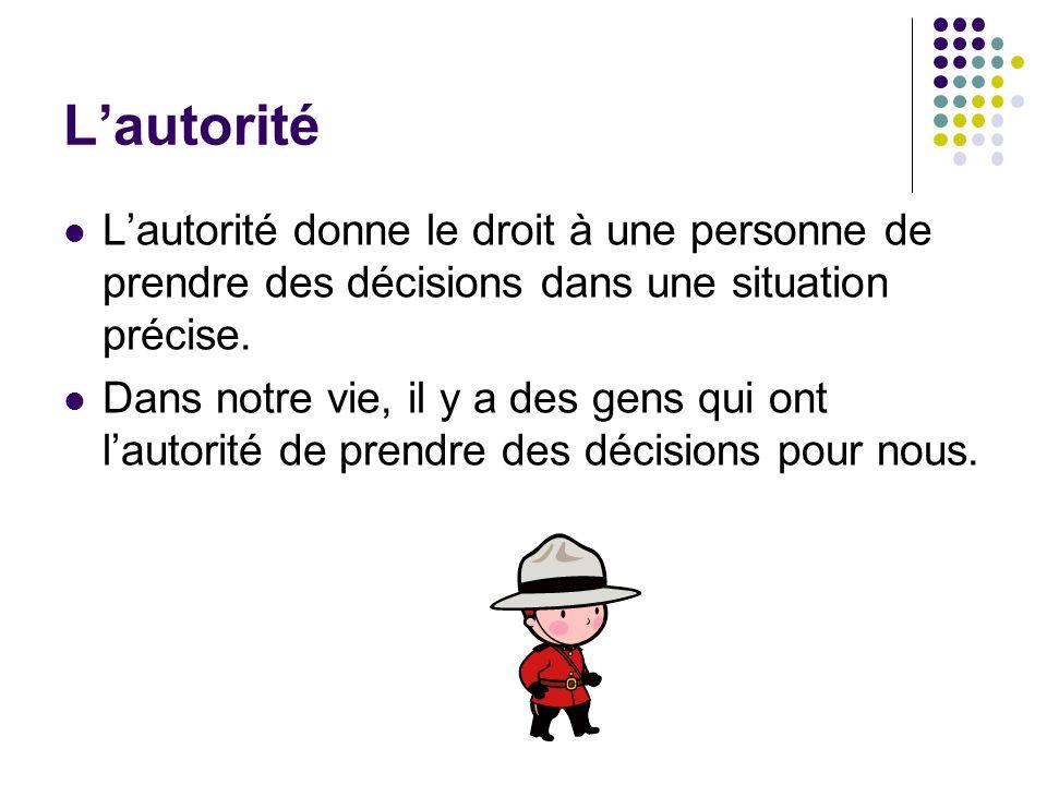 L'autorité L'autorité donne le droit à une personne de prendre des décisions dans une situation précise.