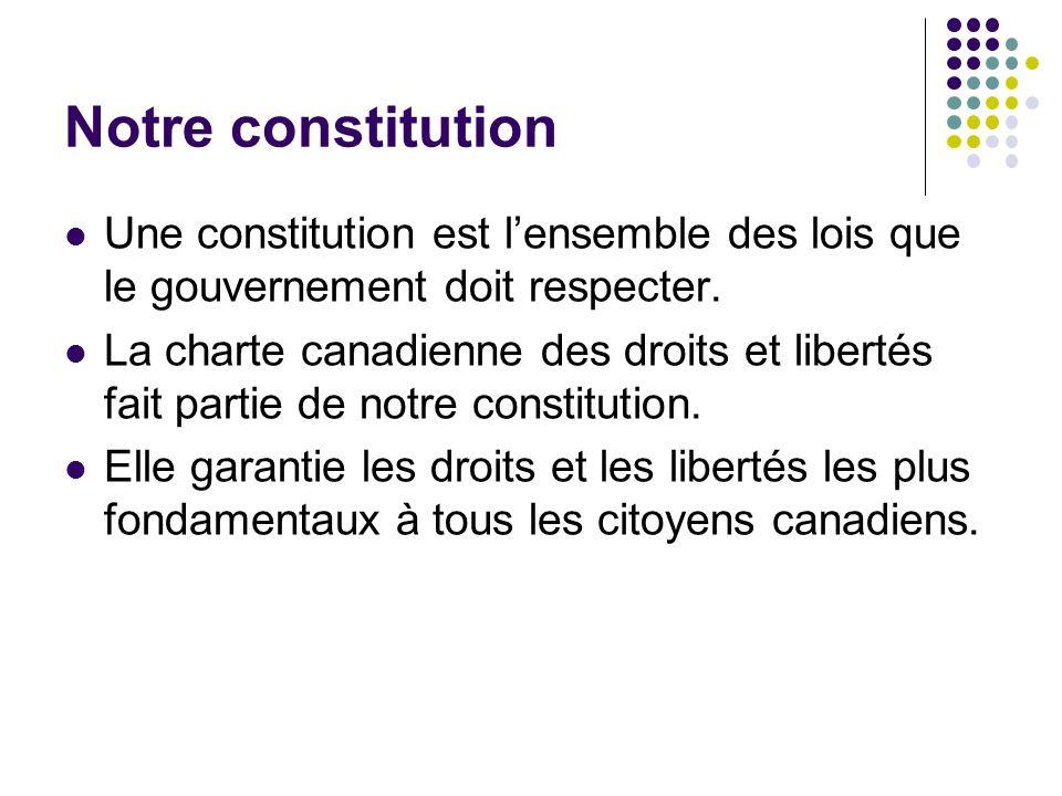 Notre constitution Une constitution est l'ensemble des lois que le gouvernement doit respecter.