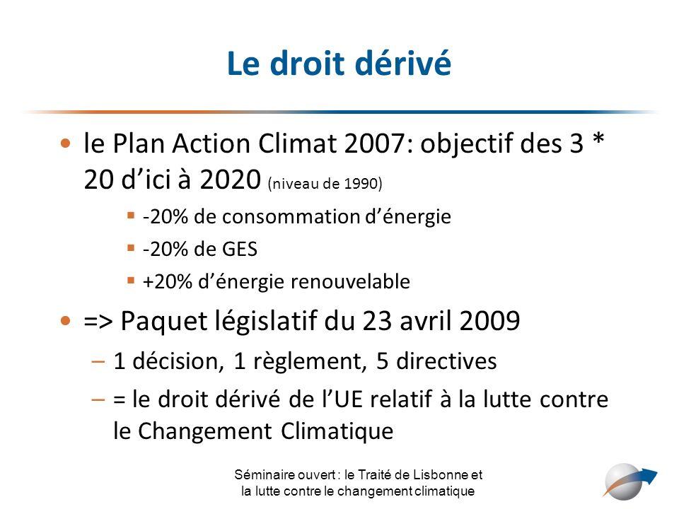 Le droit dérivé le Plan Action Climat 2007: objectif des 3 * 20 d'ici à 2020 (niveau de 1990) -20% de consommation d'énergie.