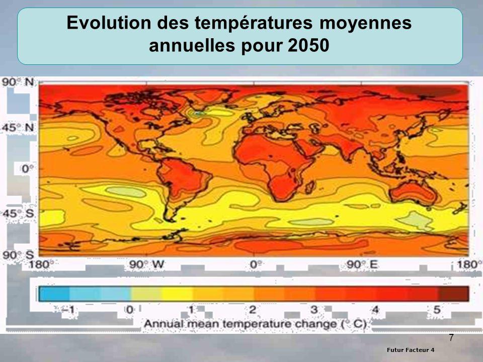 Evolution des températures moyennes annuelles pour 2050