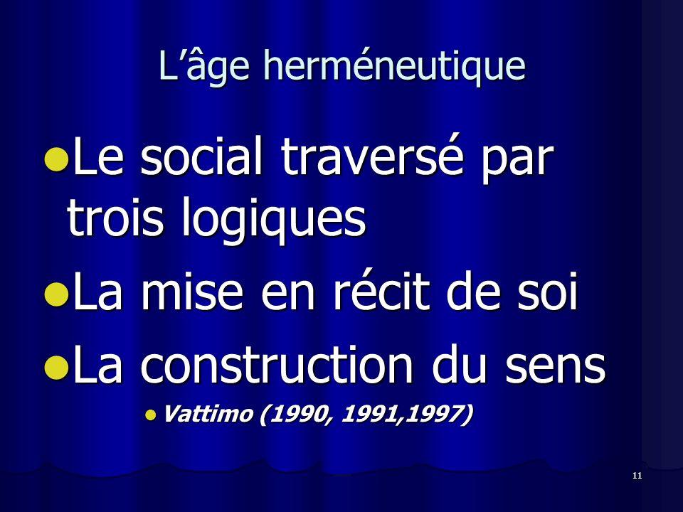 Le social traversé par trois logiques La mise en récit de soi