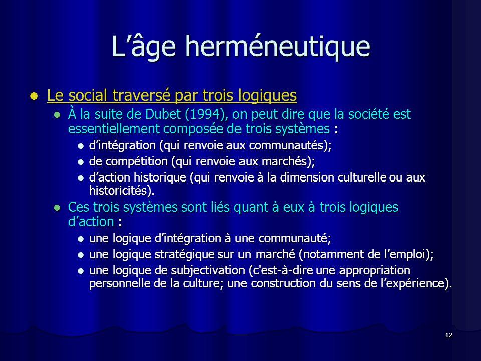 L'âge herméneutique Le social traversé par trois logiques