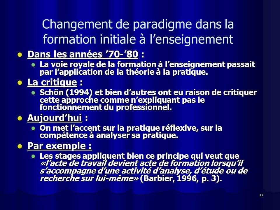 Changement de paradigme dans la formation initiale à l'enseignement
