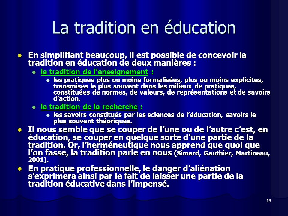 La tradition en éducation