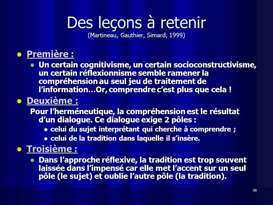 Des leçons à retenir (Martineau, Gauthier, Simard, 1999)