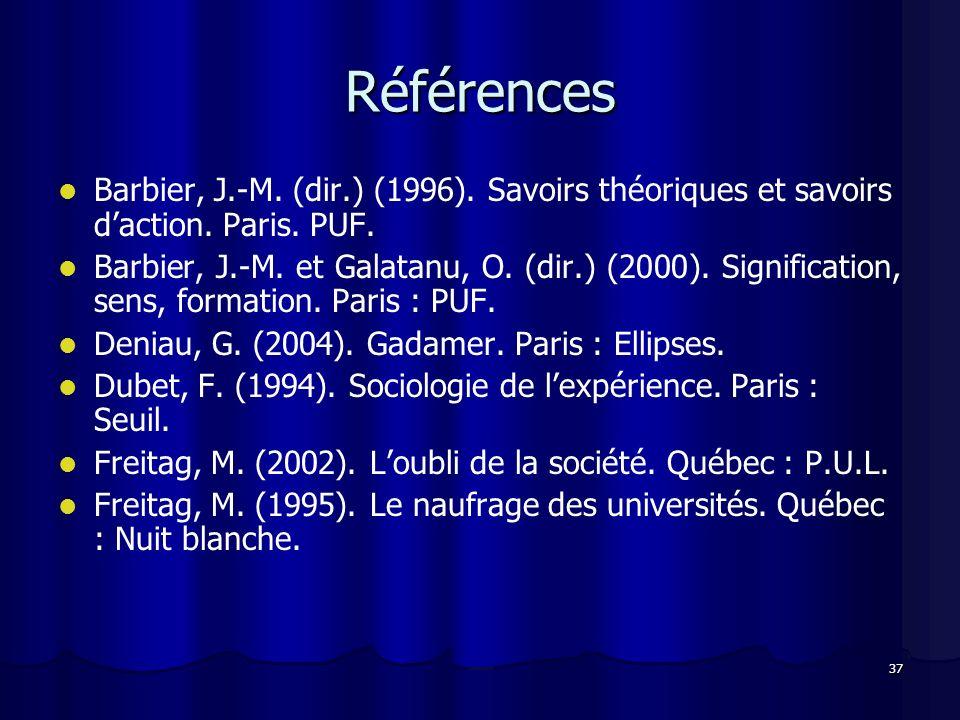 Références Barbier, J.-M. (dir.) (1996). Savoirs théoriques et savoirs d'action. Paris. PUF.