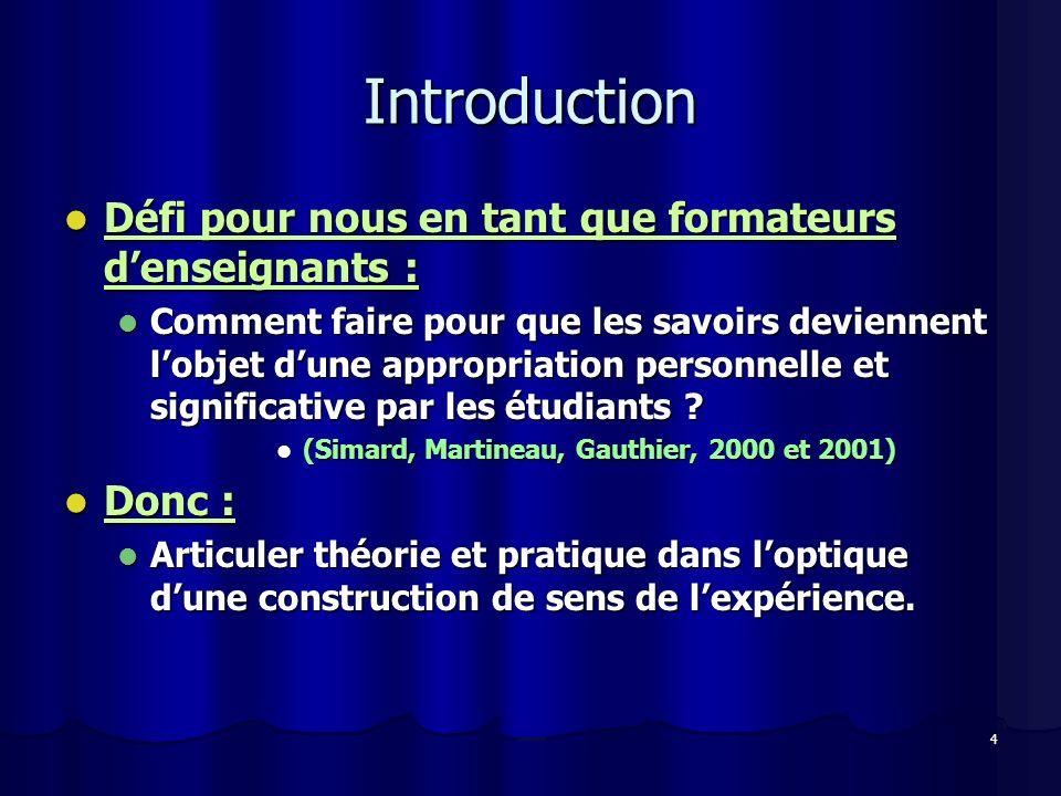 Introduction Défi pour nous en tant que formateurs d'enseignants :