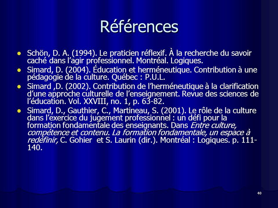 Références Schön, D. A. (1994). Le praticien réflexif. À la recherche du savoir caché dans l'agir professionnel. Montréal. Logiques.