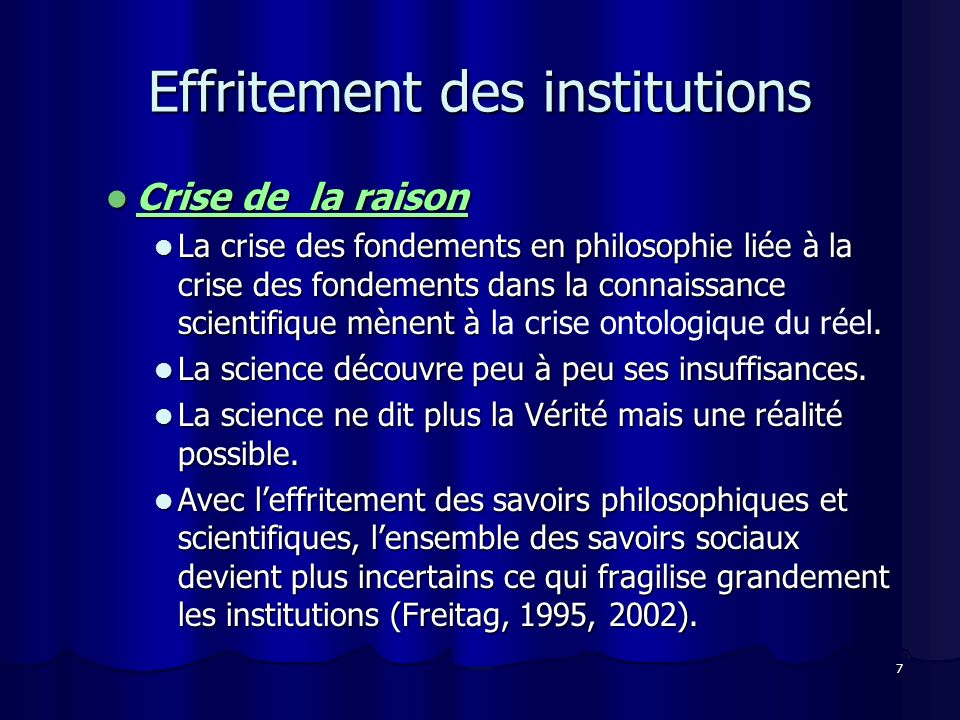 Effritement des institutions