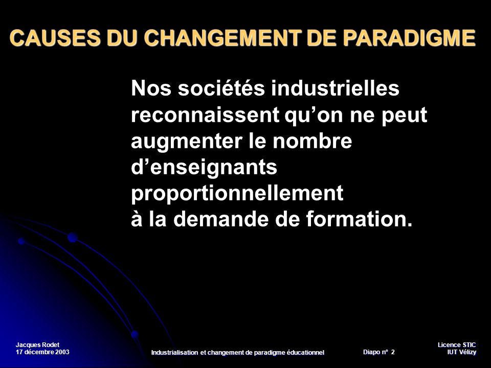 Industrialisation et changement de paradigme éducationnel