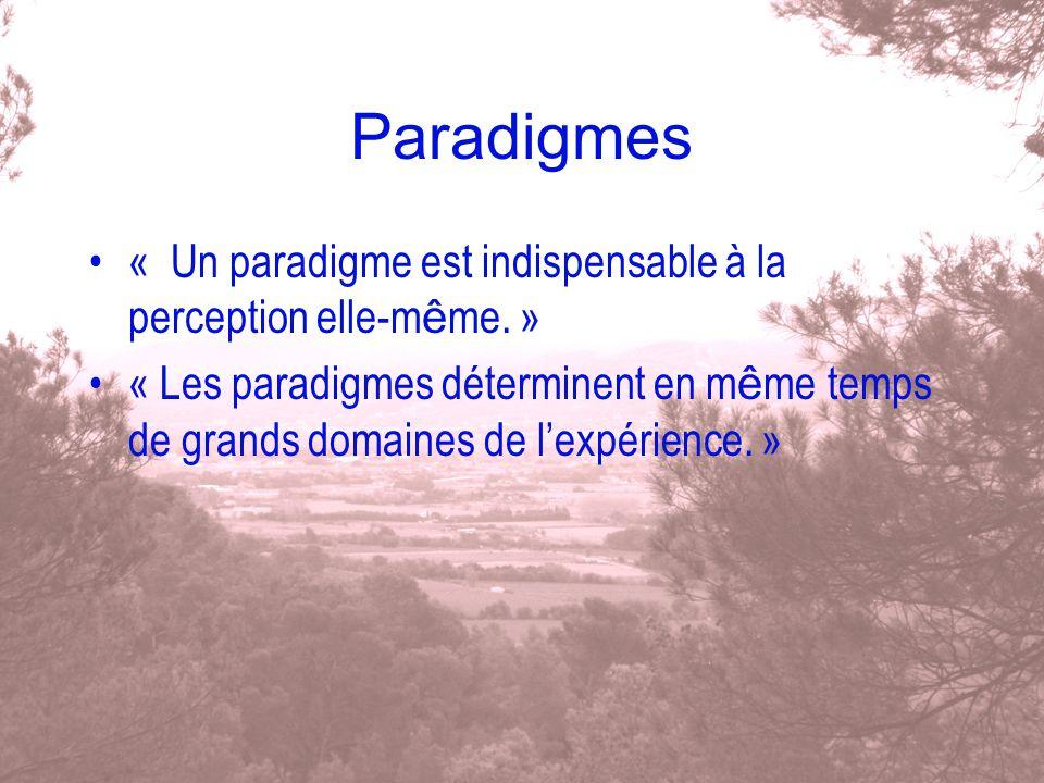 Paradigmes « Un paradigme est indispensable à la perception elle-même. »