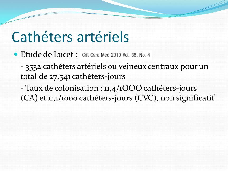 Cathéters artériels Etude de Lucet :