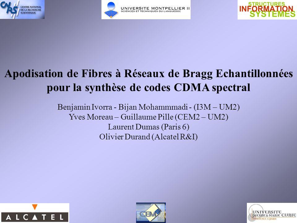 Apodisation de Fibres à Réseaux de Bragg Echantillonnées pour la synthèse de codes CDMA spectral