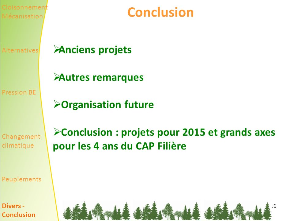 Conclusion Anciens projets Autres remarques Organisation future