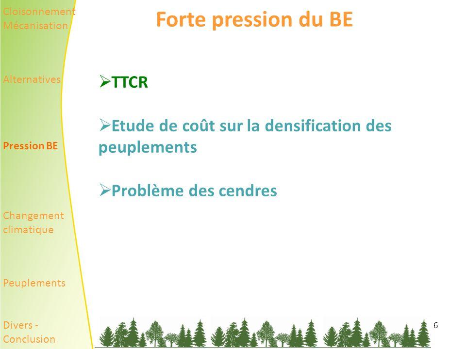 Forte pression du BE TTCR