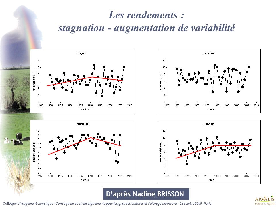 Les rendements : stagnation - augmentation de variabilité