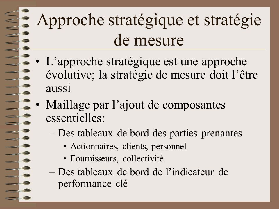 Approche stratégique et stratégie de mesure