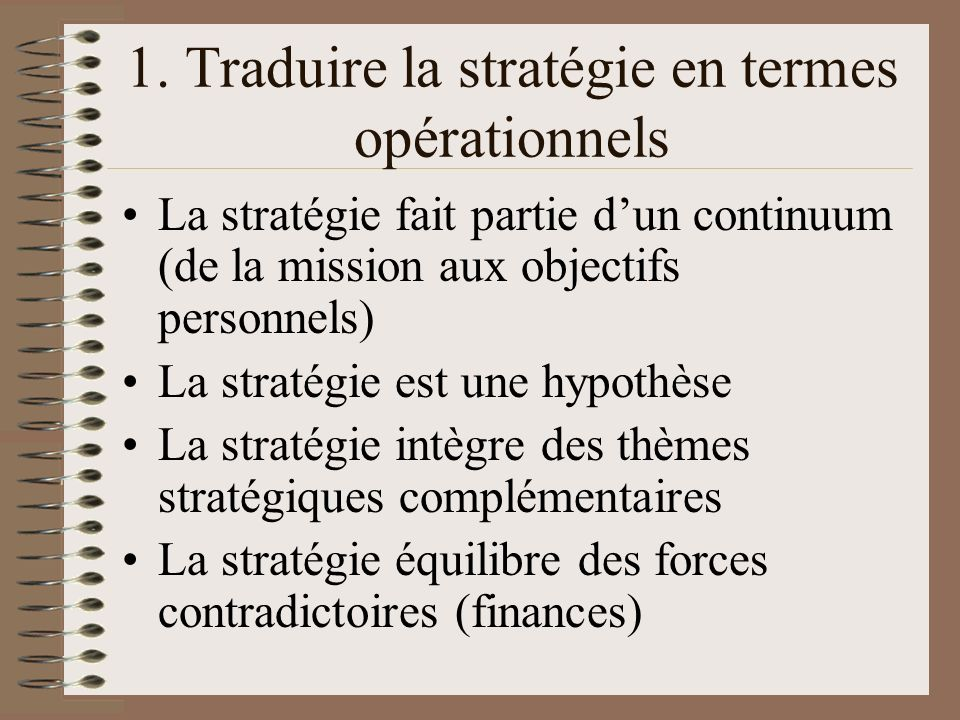 1. Traduire la stratégie en termes opérationnels
