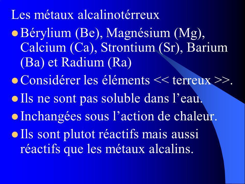 Les métaux alcalinotérreux