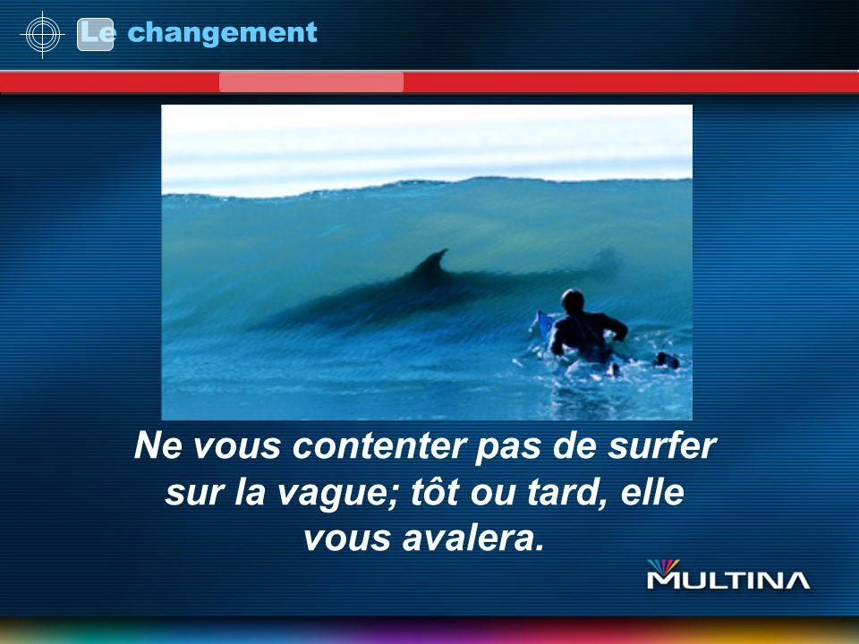 Le changement Ne vous contenter pas de surfer sur la vague; tôt ou tard, elle vous avalera.