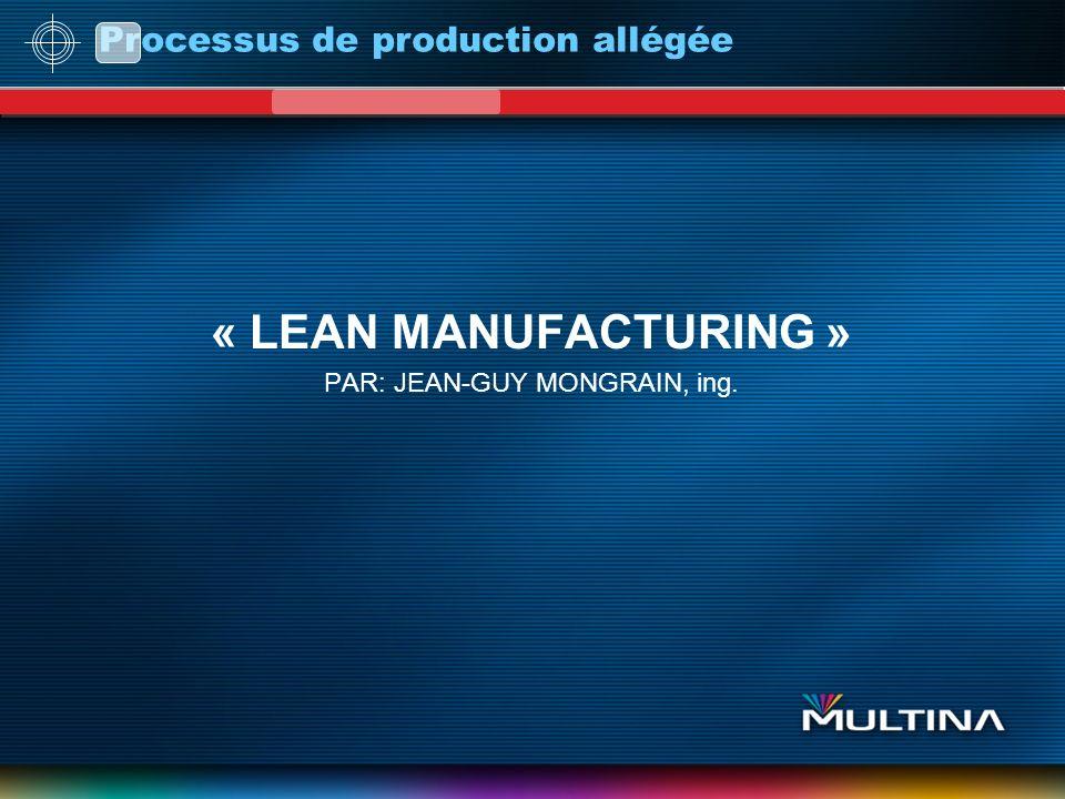 « LEAN MANUFACTURING » PAR: JEAN-GUY MONGRAIN, ing.