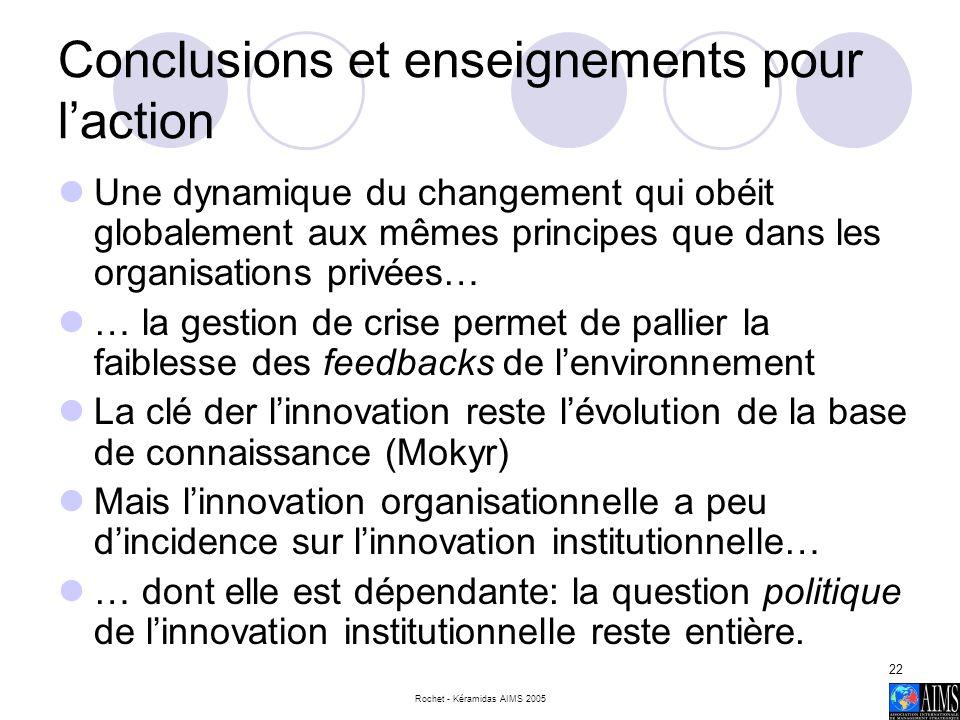 Conclusions et enseignements pour l'action