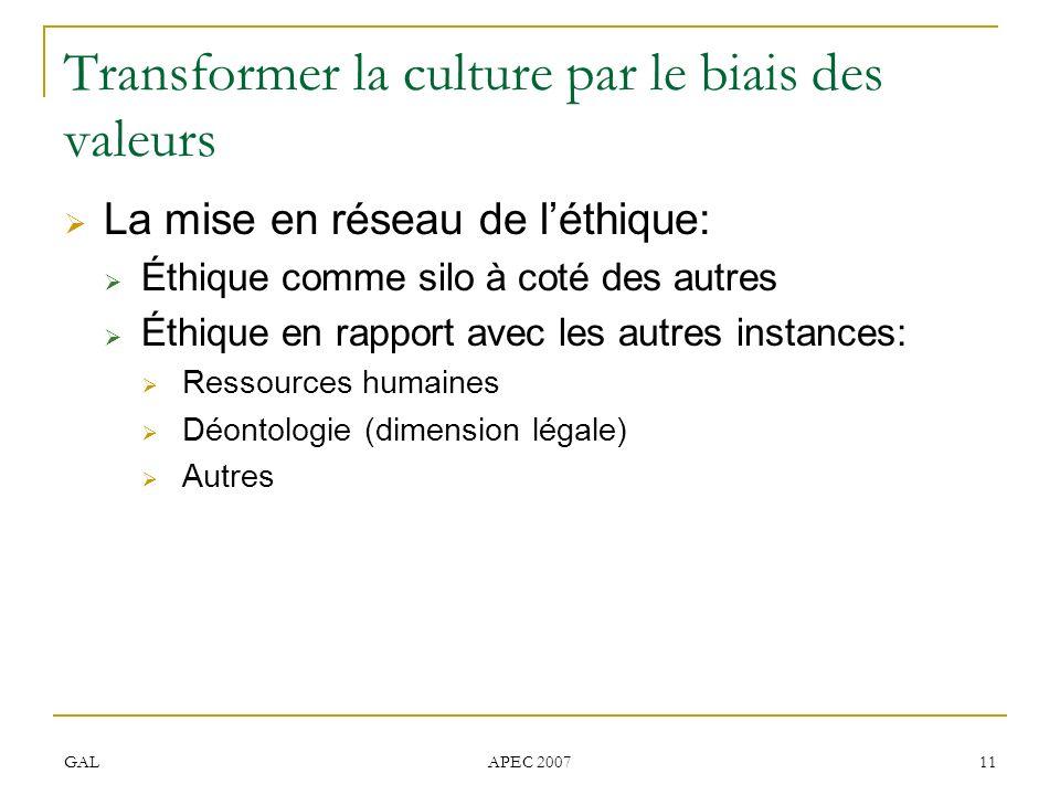 Transformer la culture par le biais des valeurs