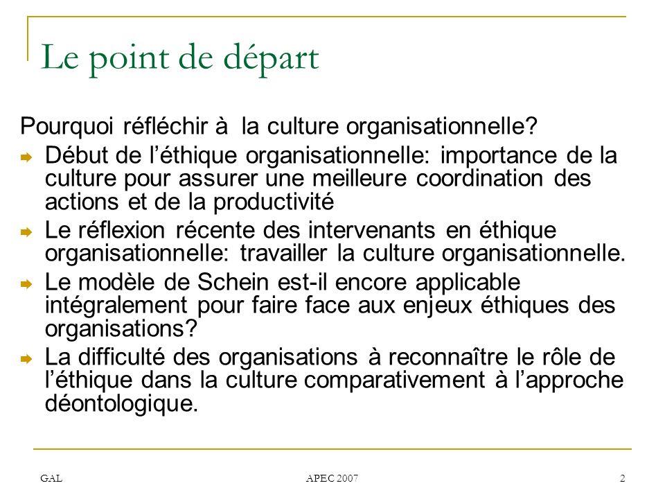 Le point de départ Pourquoi réfléchir à la culture organisationnelle