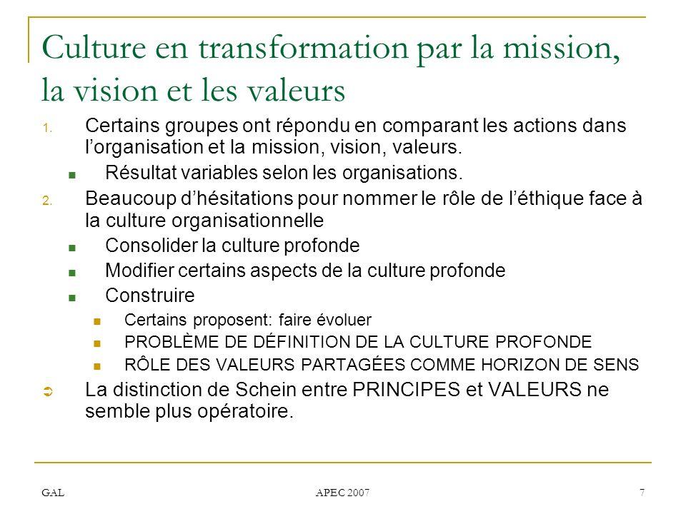 Culture en transformation par la mission, la vision et les valeurs