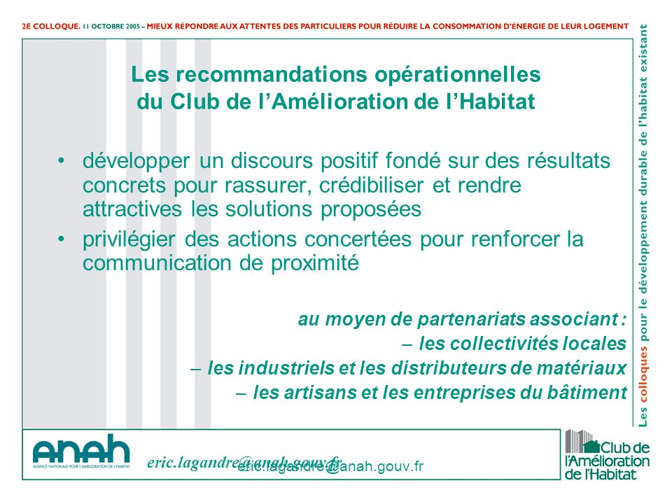 Les recommandations opérationnelles du Club de l'Amélioration de l'Habitat