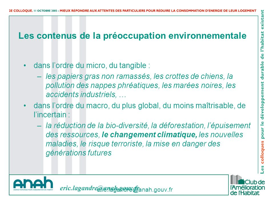Les contenus de la préoccupation environnementale